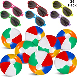 24 Pieces Summer Party Favors Set, 12 Pack Inflatable Beach Balls - 12 Pieces Neon Sunglasses Beach and Pool Party Favors Outdoor Summer Water Toys