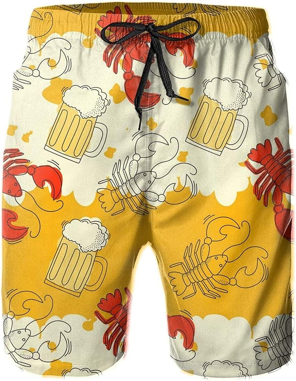 QAZXCV Beer Crawfish Men's Board Shorts Casual Beach Shorts Swim Trunks Quick Dry Swimwear