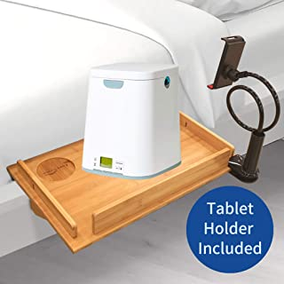 Bunk Bedside Attachable Shelf Organizer - Floating Large 12x19 inches Bamboo Nightstand for Ikea Malm & CPAP Machine, Portable Balcony Caddy, Phone Holder Included, Clamp Table for Laptop and Espress