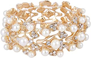 EVER FAITH Crystal Cream Simulated Pearl 1920's Style Leaf Stretch Bracelet Clear