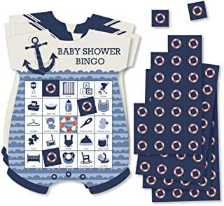 Ahoy - Nautical - Picture Bingo Cards and Markers - Baby Shower Shaped Bingo Game - Set of 18