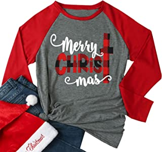 Merry Christmas Tee Shirts Women Christmas Tee Shirts Tops Letter Print 3/4 Sleeve Raglan Baseball Tee Shirts