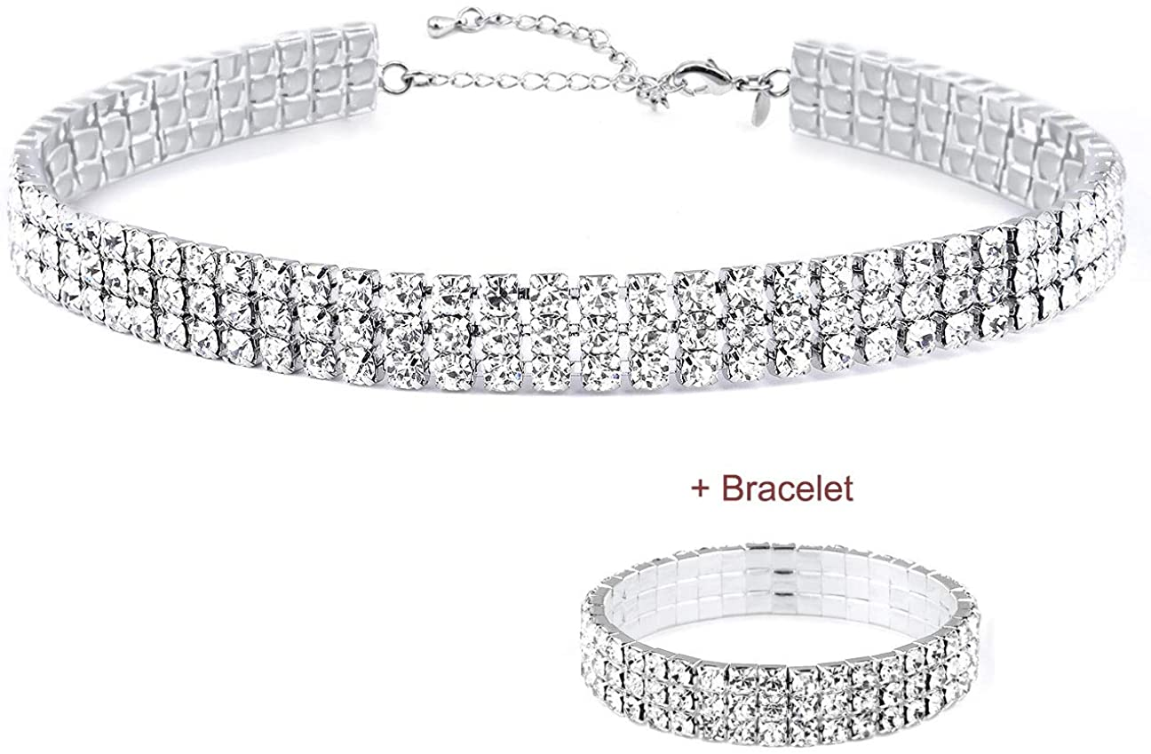 16K Gold Max 51% OFF Plated 1-6 Rows Mail order Rhinestone Choker Bracelets Necklace