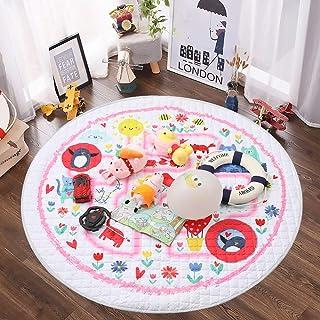 Winthomeベビープレイマット キッズ 遊びマット おもちゃ収納袋 片付けマット ブロック収納マット 綿素材 滑り止め付き 直径150cm (改良版(pinkの森))