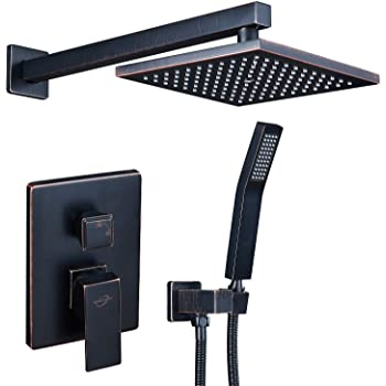 AUKTOPT AUS-3210 Rainfall Shower Head System with Handshower Bathroom Luxury Rain Mixer Combo Set, oil rubbed bronze