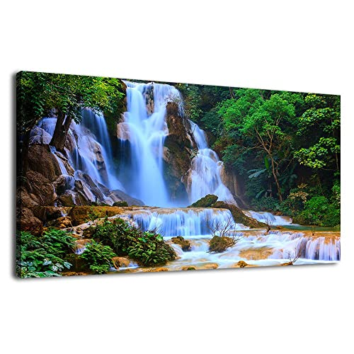 WATERFALL RAINBOW RIVER CANVAS PICTURE PRINT WALL ART LANDSCAPE HOME DECOR
