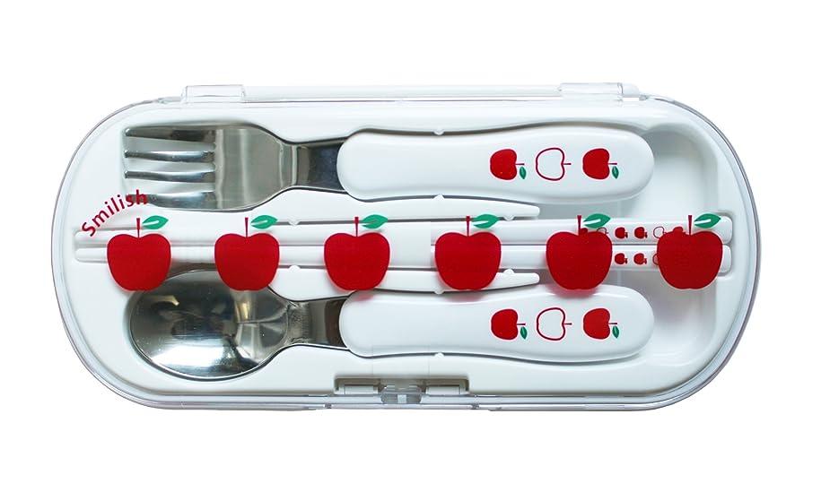 行商植生入場SMILISH(スマイリッシュ) カトラリーセット(箸?スプーン?フォーク お名前シール付)りんご柄 日本製