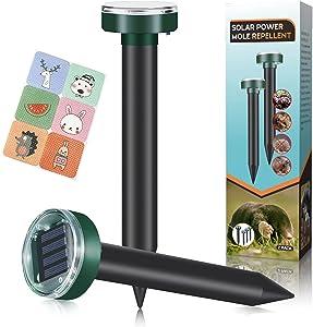 Mole Repellent,Solar Powered Mole Repeller,2 Packs,Gopher Repellent,Snake Repellent,Vole Repellent for Lawn Garden & Yard,Vole Deterrent,Groundhog Repeller,Ultrasonic Pest Control for Outdoors