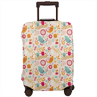 Travel Luggage Cover,Colorful Sketch Style Owls Flowers And Branches Elements Of Nature In Abstract Art Suitcase Protector