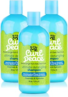 Just for Me Curl Peace Ultimate Detangling Shampoo (3 Pack) - Cleanses & Hydrates, Contains Marshmallow Root Extract, Cocoa Butter & Raw Honey, Sulfate Free, No Animal Testing, 12 oz