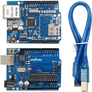 Gowoops Basic Board for Arduino ATmega328P Development Board and Ethernet W5100 Shield Network Expansion Board for Arduino