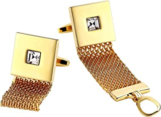 AMDXD Cufflinks Stainless Steel, Cuff Links Mens Gold Mesh Wrap Square 1.7 x 1.7 cm