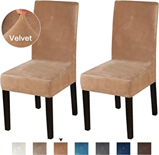 Turquoize Dining Chair Covers Stretch Chair Covers for Dining Room Velvet Chair Protector Covers Slipcover Parson Chair Covers Set of 2 for Hotel Ceremony, Thick Soft Modern Style, Camel, 2