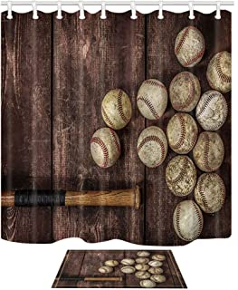NYMB Baseball on The Wooden 69X70in Polyester Fabric Shower Curtain Suit with 40x60cm Flannel Non-Slip Floor Mat Bath Rug (Multi25)