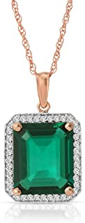 💎Galaxy Gold💎 4.70 Carat Total Weight 14K Solid Rose Gold Emerald Halo Design Pendant Necklace Brilliant Emerald Octagon Shape Cut Natural Diamonds Round Cut Anniversary Engagement Birthday