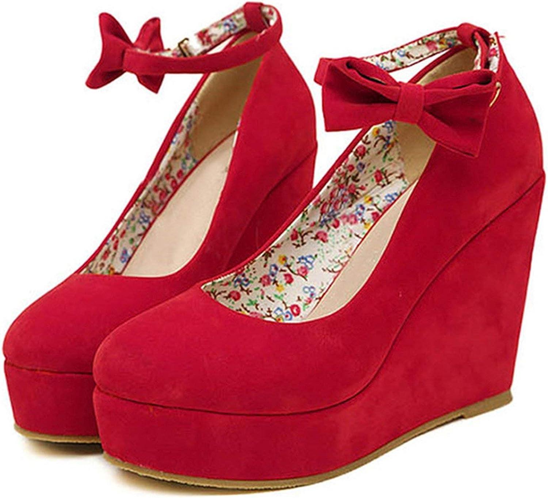 Women High Heels Wedges Wedding Dress PumpsFlock Platform Buckle Ankle Strap Bowtie shoesCE-14