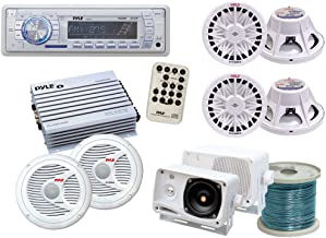 Pyle Weatherproof Sound Audio System - Boat, Marine, Deck - AM/FM Radio + 400 Watts Amplifier + 200 Watts Mini Box Speaker System + Pair of 150 Watts Speakers + Two 400 Watts Subwoofers + 50 Ft. Speaker Wire
