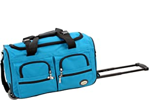 Rockland Rolling Duffel Bag, Turquoise, 22-Inch