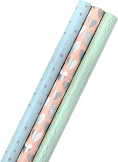 Hallmark All Occasion Wrapping Paper Bundle with Cut Lines on Reverse - Blush, Aqua, Mint, Silver (3-Pack: 105 sq. ft. ttl.) for Birthdays, Mothers Day, Weddings, Easter, Bridal Showers, Baby Showers