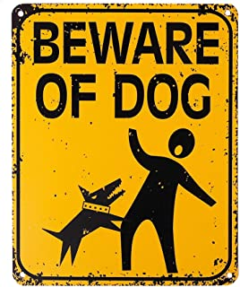 WaaHome Large Metal Beware of Dog Sign Funny Dog Yard Signs for Fence House Home, 8 X 10 inches