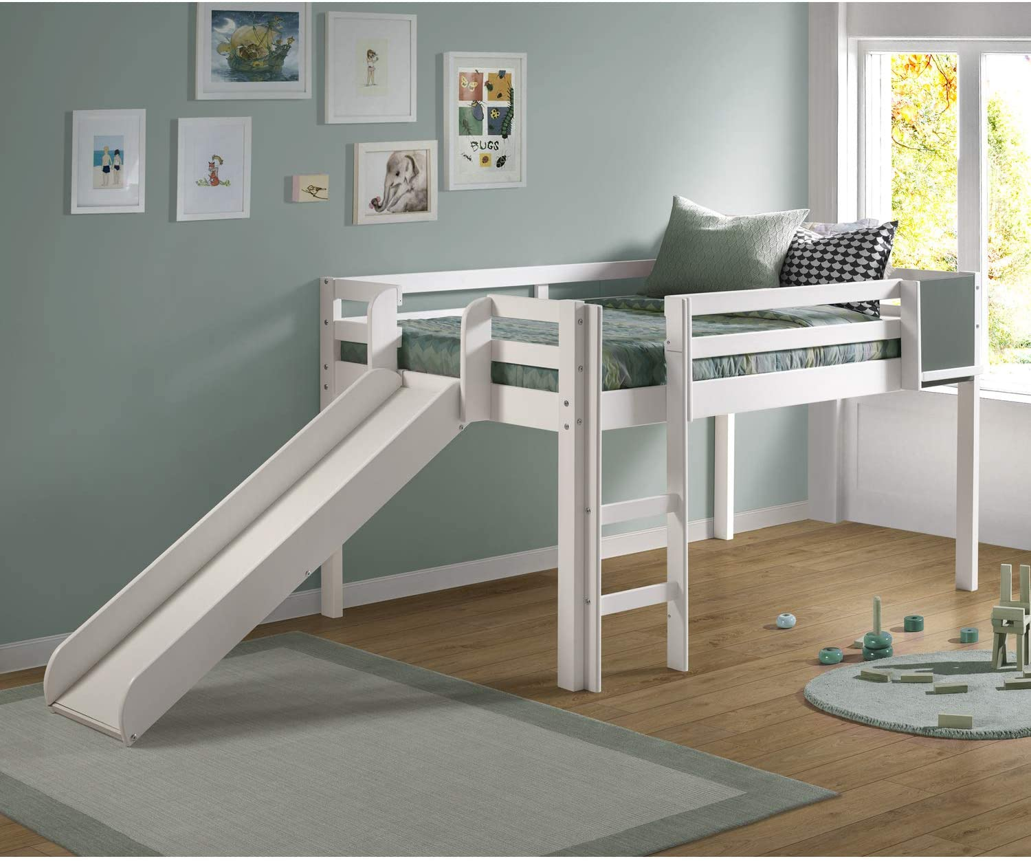 Naomi Home Cindy Low Loft Bed with Fun Slide White/Twin