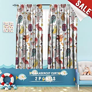 Big datastore home Drapes for Kids, Angry Animal Autumn Background Bird Card Cartoon Character Collection Creative 63 x 72 inch Room Darkening Blackout Drapes