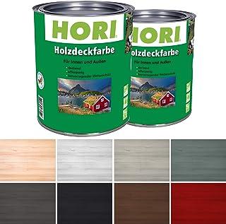 HORI Holzfarbe für Innen und Außen I Landhausfarbe, natürlich deckend I Farbe Weiß