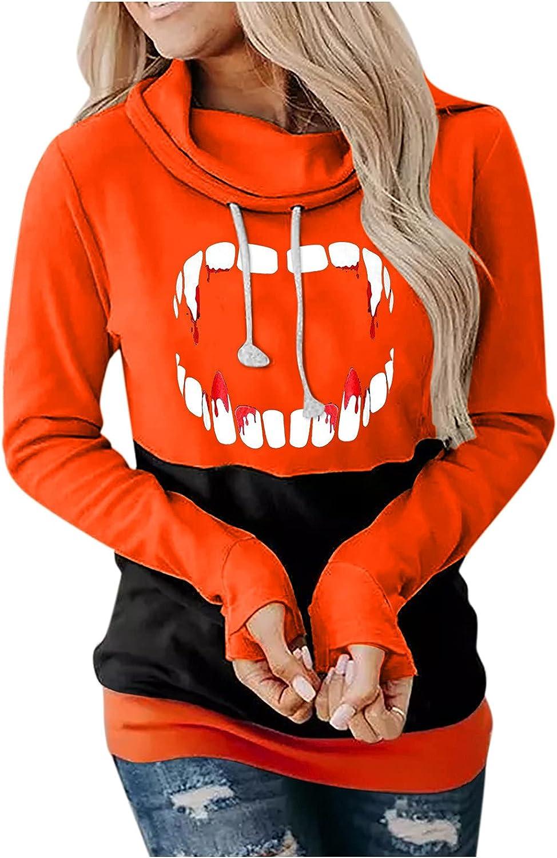 Halloween Sweatshirts for Women, Halloween Pumpkin Face Printed Long Sleeve Hooded Blouse Drawstring Pullover Shirts