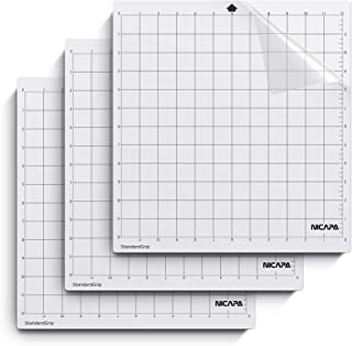 Nicapa Cutting Mat for Silhouette Cameo 3/2/1 [Standardgrip,12x12 inch,3pack] Adhesive&Sticky Non-Slip Flexible Gridded Cu...