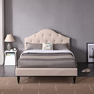 Winterhaven Upholstered Platform Bed | Headboard and Wood Frame with Wood Slat Support | Linen, Full