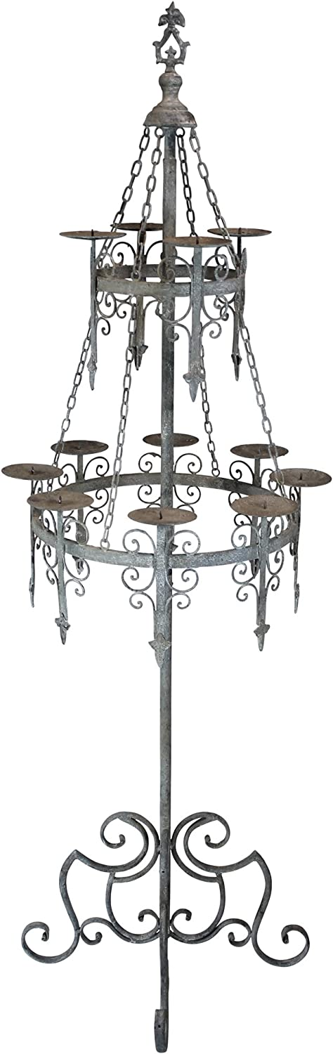 Design Toscano Malbark Castle Gothic Decor Floor Candelabra Candle Holder, 63 Inch, Grey Patina