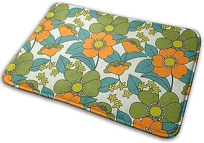 Floral Orange Carpet Non-Slip Welcome Front Doormat Entryway Carpet Washable Outdoor Indoor Mat Room Rug 15.7 X 23.6 inch