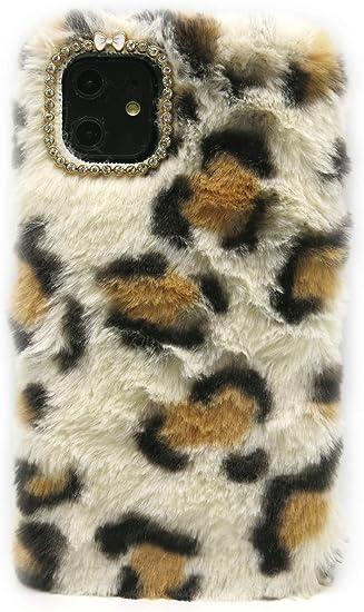3C Collection Coque Iphone 11 Fourrure Leopard Blanc, Coque Iphone 11 Poilue, Coque Hirsute pour Iphone 11 6.1 Pouce Housse Poilue pour Fille