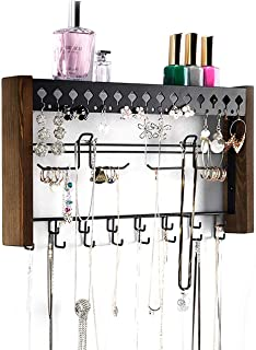 JackCubeDesign Rustic Wood Wall Mount Jewelry Organizer with Metal Hooks for Necklaces Earrings and Bracelets (Wood) : MK460A