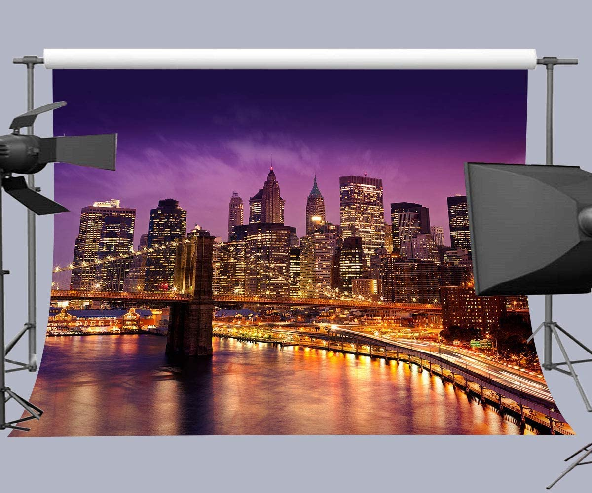 10x6.5ft Night City Backdrop,Bright Palace Photography Props Photo Booth Background LYFU290