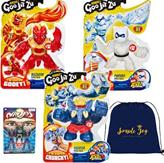 Heroes of Goo Jit Zu Super Stretchy Action Figures Water Blast Attack - Blazagon, Gigatusk, Pantaro (3-Pack Set)