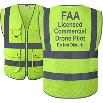 JKSafety 9 Pockets Class 2 High Visibility Zipper Front FAA Drone Pilot Safety Vest With Reflective Strips,HQ Breathable Mesh,Meets ANSI/ISEA Standards(XX-Large, Drone-Yellow)