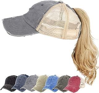 Women Ponytail Baseball Cap Vintage Washed Distressed Baseball-Cap Twill Adjustable Dad-Hat