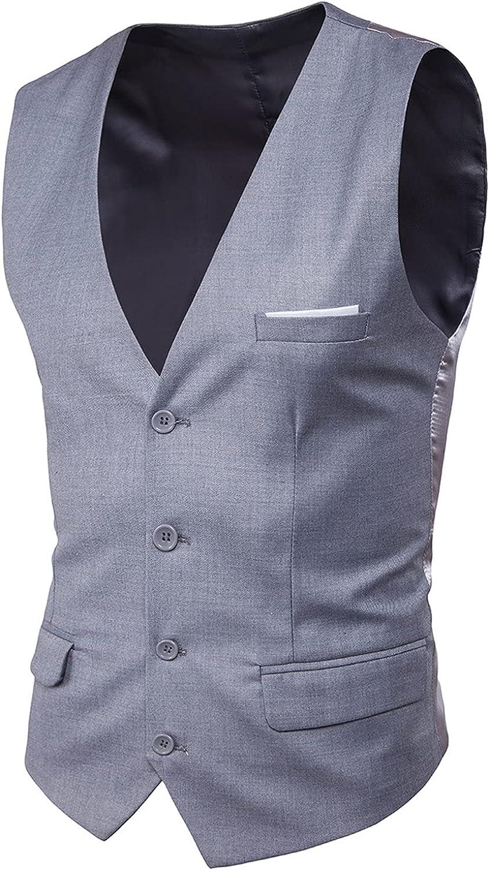 Men's Slim Fit Business Dress Suit Vests Button Suit Premium Wool Waistcoat Prom Wedding Tuxedo Vest Pocket Square Set
