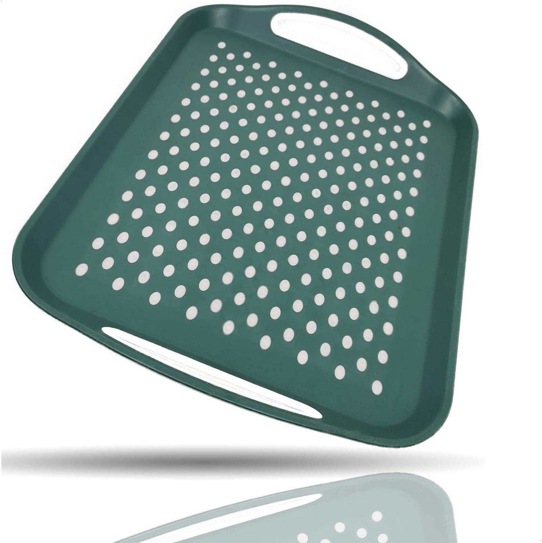 Kerafactum Bandeja para servir con mango de plástico reutilizable para servir en bandeja, base de goma, antideslizante, rectangular con agarre y puntos, bandeja antideslizante verde