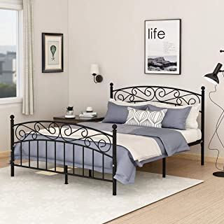 Metal Beds Victorian Style Platform Bed Frame with Headboard Footboard Heavy Duty Slat No Box Spring Queen Size Black