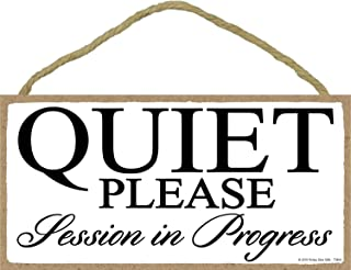 Honey Dew Gifts White Quiet Please Session in Progress - 5 x 10 inch Hanging Door Sign for Office, Salon, or Commerical Use