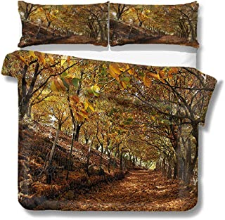 Mademai King Size Duvet Cover Set Nature,Autumn Foliage Forest for Kids/Teens/Adults Hidden Zipper Quilt Cover Printed