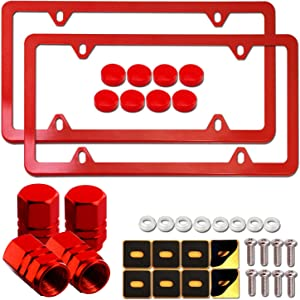 Aootf Red License Plate Frames- Cute Car Tag Holders for Women, 2 Pack Slim Aluminum Bracket with Mount Kit Fit Front & Rear, 4 Holes, Personalized Gift Accessories- Screws, Caps, Tire Valve Covers