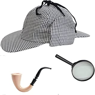fad8bb81ee2 Sherlock Holmes Houndstooth Detective Hat With Costume Pipe   Magnifying  Glass