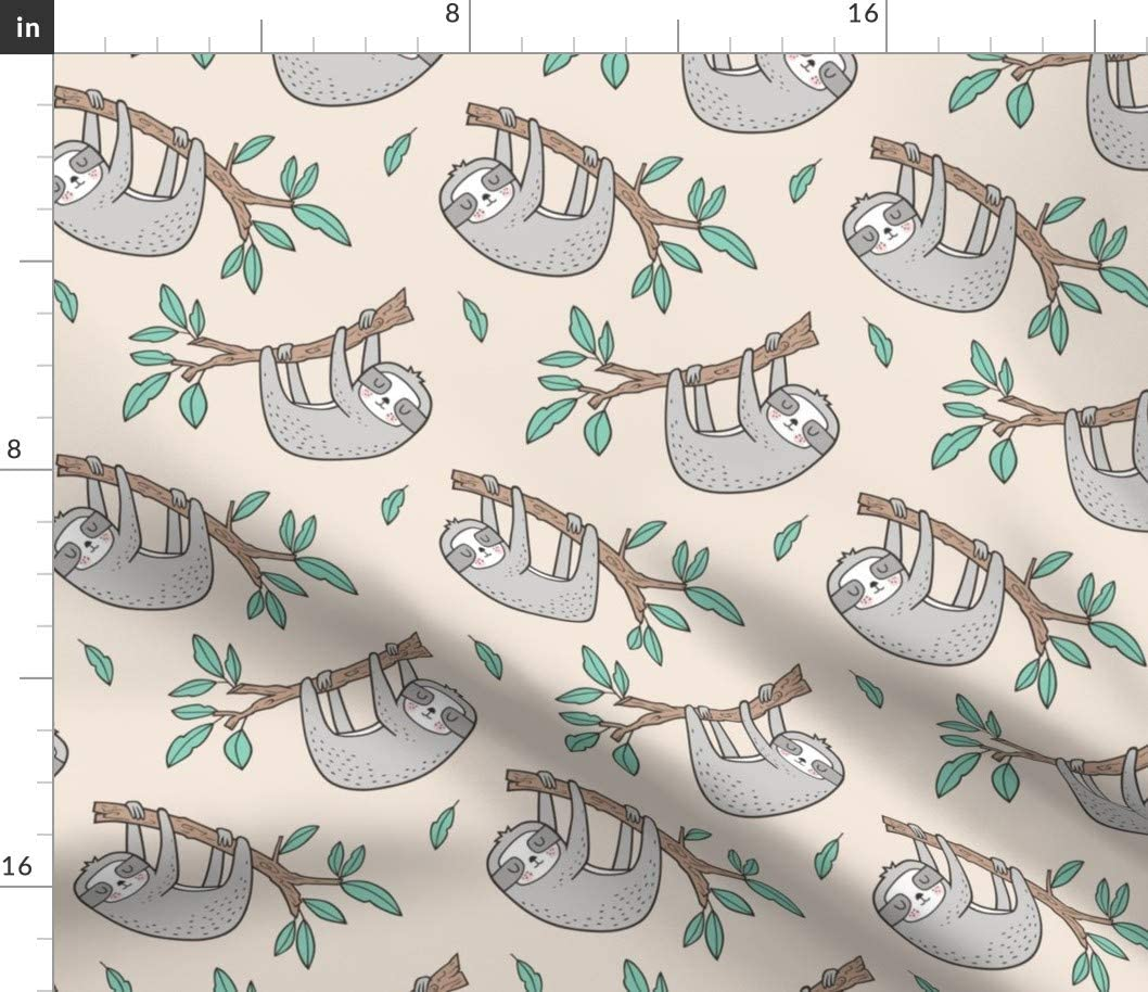 Spoonflower Safety and trust Fabric Don't miss the campaign - Sloth Sloths For Branch Leaves Animals Tree
