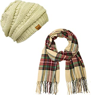 Women's Plaid Print Long Scarf and Beanie Hat Set