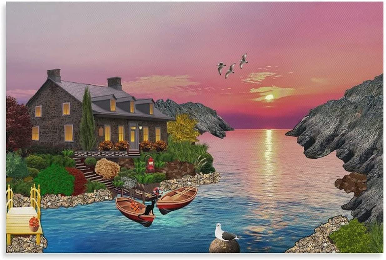 Ranking TOP7 JDCUBAO Night Sunset Nature Houses Ca Landscape Free shipping Poster Print Oil
