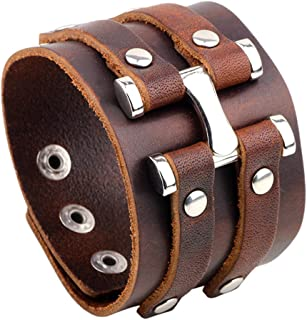 Fashion Alloy Snap Wide Leather Wristband Bracelet Bangle,7-8inches