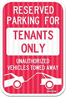 eSplanade Reserved Parking Sign, Tenants Parking Only Sign, No Parking Self Glowing Retro Reflective Sign Decal Sticker - ...